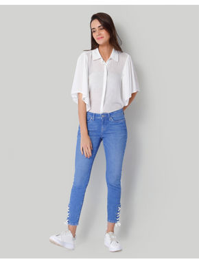Light Blue Mid Rise Slim Fit Lace Up Jeans