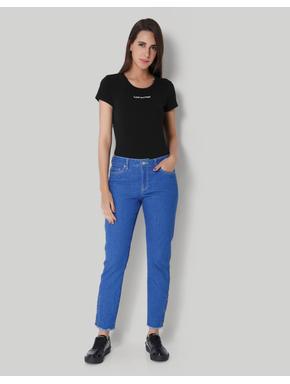 Blue Regular Waist Side Button Detail Jeans