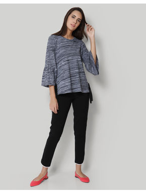 Grey Textured Flared Sleeves T-Shirt