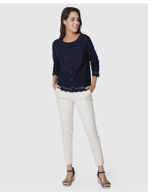 Dark Blue Embroidered and Scallop Hem Top