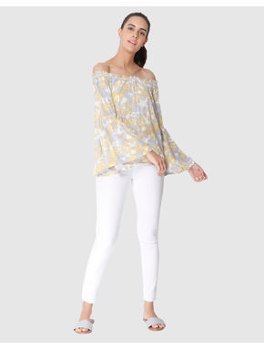 Grey All Over Print Off Shoulder Flared Sleeves Top