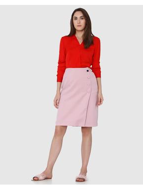 Pink Button Detail Wrap Skirt