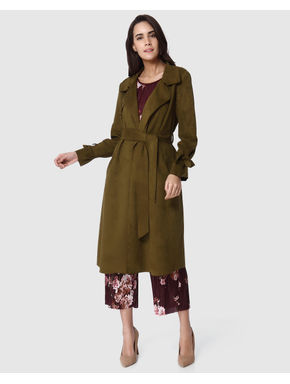 Green Front Open Long Coat
