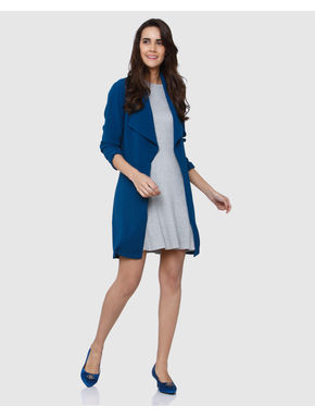 Blue Front Open Long Jacket