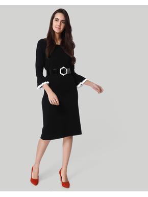 Black Flared Sleeves Midi Dress