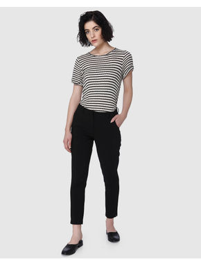 Black Mid Rise Slim Fit Pants