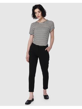 Black Mid Rise Slim Fit Pants