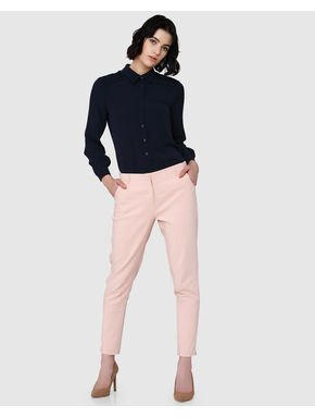Pink Mid Rise Slim Fit Pants