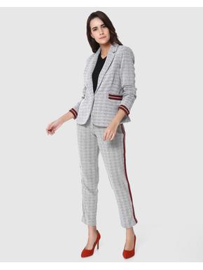 Light Grey Textured with Contrast Stripes Blazer