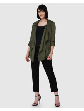 Olive Green Drape Front Open Jacket