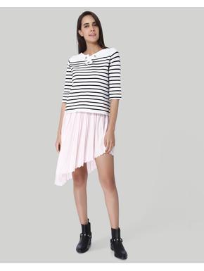 White Striped Knit Top