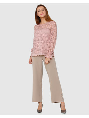 Pink Floral Lace Long Sleeves Top
