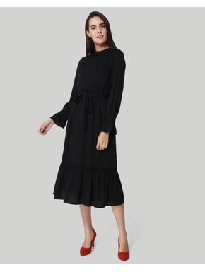Black Self Tie Waist Midi Dress
