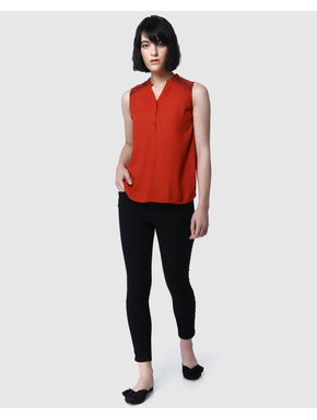 Red Embroidered Detail Sleeveless Top