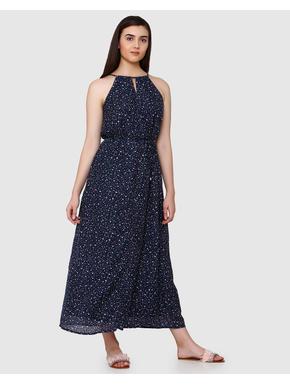 Dark Blue Printed Halter Neck Maxi Dress