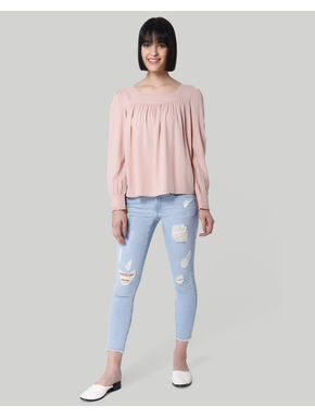 Pink Frill Detail Dobby Weave Top