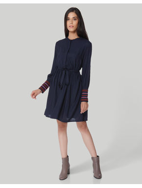 Dark Blue Embroidered Cuffs Shift Dress