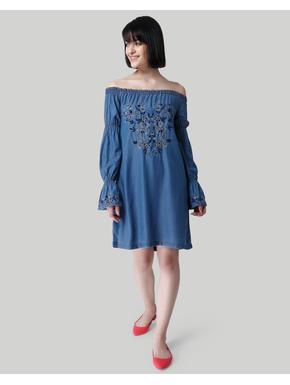 Blue Off Shoulder Embroidered Shift Denim Dress