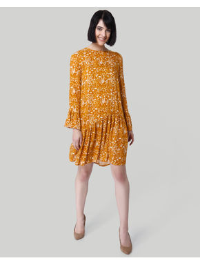 Mustard All Over Print Drop Waist Dress