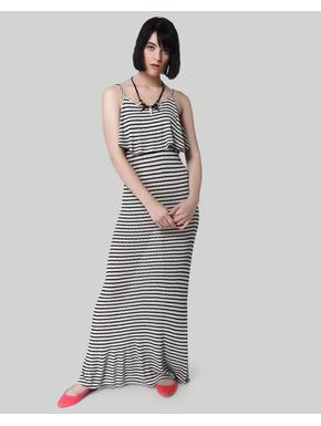 Black Striped Strappy Maxi Dress