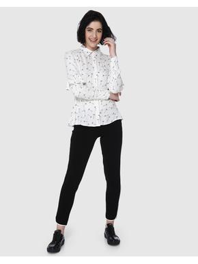 White All Over Print Ruffle Detail Shirt