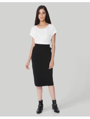 White Self Design T-Shirt