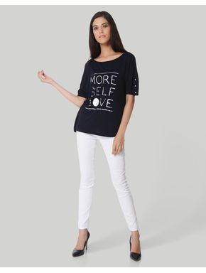 Dark Blue Slogan Print T-Shirt