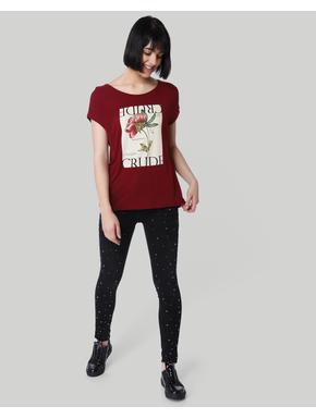 Maroon Graphic Print T-Shirt