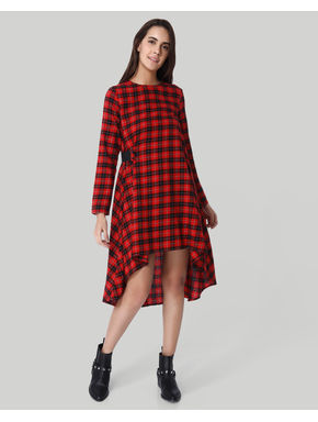 Red Check High Low Midi Dress