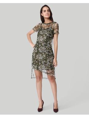 Green Floral Print Mesh Mini Dress