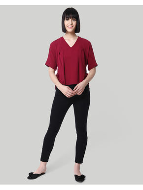 Maroon Side Knot Top