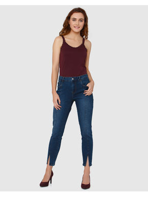 Dark Blue Mid-Rise Front Slit Skinny Fit Jeans