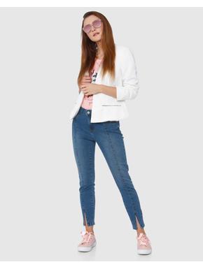 Light Blue Mid Rise Front Slit Skinny Fit Jeans