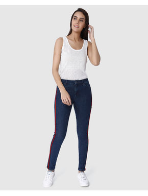 Dark Blue Mid Rise Tape Detail Skinny Fit Jeans