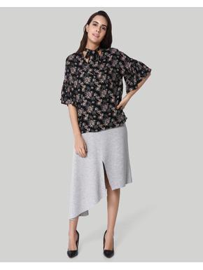 Black Floral Print Tie-Neck Top