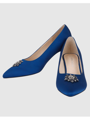 Blue Embellished Satin Kitten Heels
