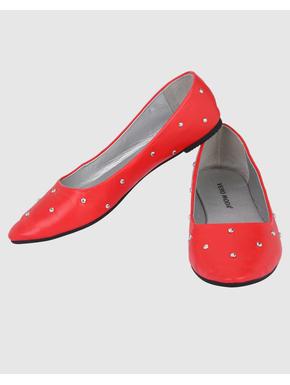 Scarlet Studded Ballet Flats
