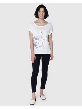 White Floral Sequinned Print T-Shirt