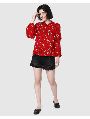 Red All Over Floral Print Ruffle Detail Shirt