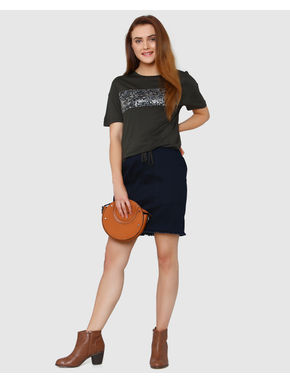 Grey Sequinned Embellished String Detail T-shirt