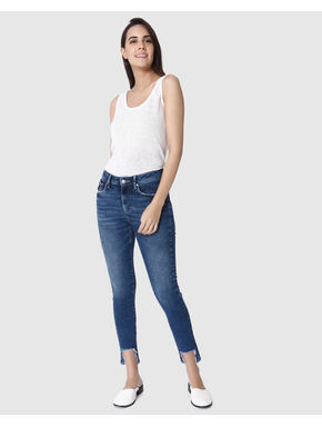 Blue Mid Rise High Low Hem Skinny Fit Jeans