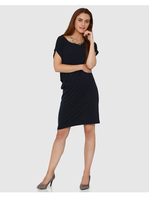 Dark Grey Side Tucked Shift Dress