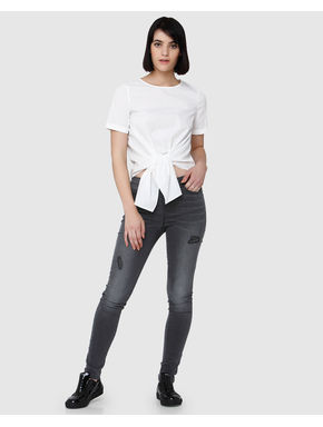 White Tie Up Short Sleeves Top