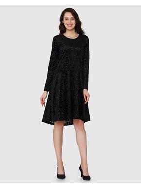 Black Leopard Printed Long Sleeves Fit & Flare Dress