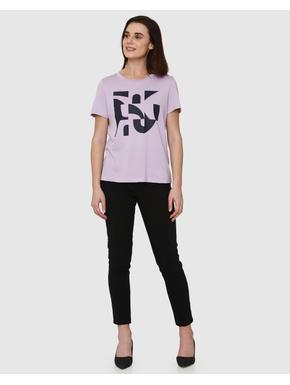 Lavender Graphic Print T-shirt