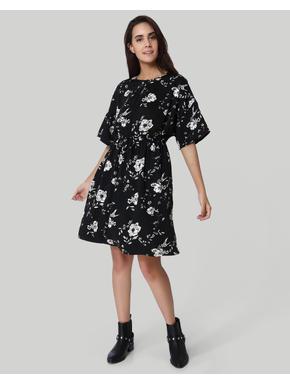 Black Floral Print Shift Dress