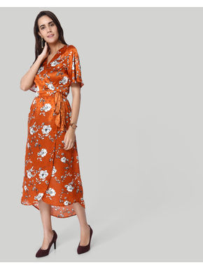 Brown Floral Print Wrap Maxi Dress