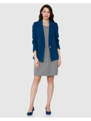 Blue Single Button Long Blazer