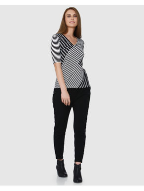 White and Black Striped V Neck T-shirt