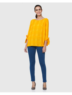 Yellow Check Knot Sleeves Top